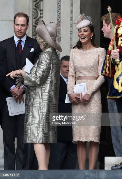 Prince William, Duke of Cambridge, Camilla, Duchess of Cornwall, Catherine, Duchess of Cambridge and Prince Harrydeparts the Service of Thanksgiving...