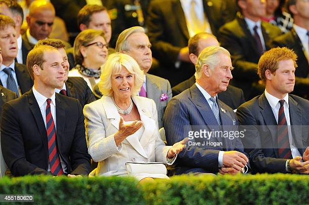 Prince William Duke of Cambridge Camilla Duchess of Cornwall Prince Charles Prince of Wales and Prince Harry attend the Opening Ceremony of the...