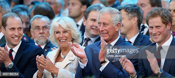 Prince William Duke of Cambridge Camilla Duchess of Cornwall Prince Charles Prince of Wales and Prince Harry laugh during the Invictus Games Opening...