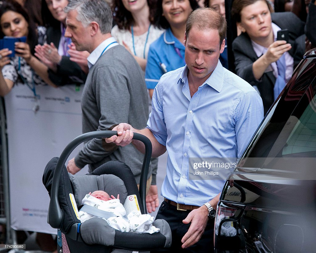 The Duke & Duchess Of Cambridge Leave The Lindo Wing With Their Newborn Son : News Photo