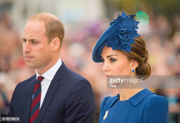 Prince William, Duke of Cambridge, Catherine, Duchess of Cambridge attend an official welcome ceremony at the Legislative Assembly of British...