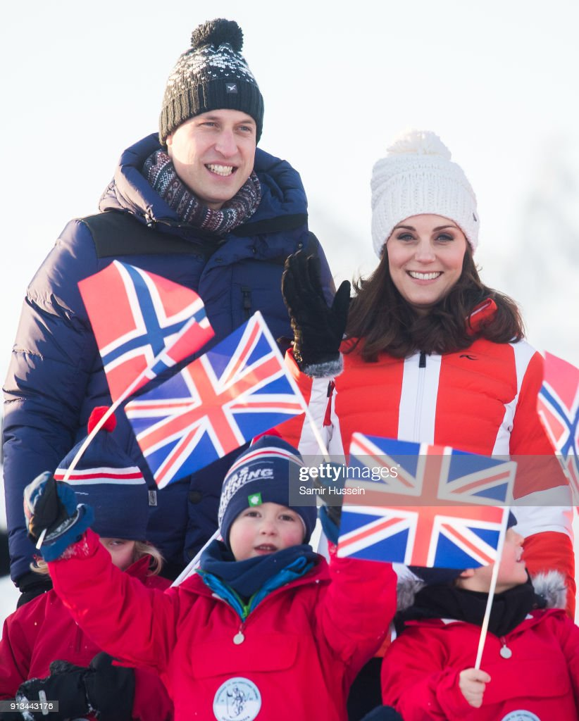 Prince William, Duke of Cambridge, Catherine, Duchess of Cambridge attend an event organised by the Norwegian Ski Federation, where they join local nursery children in a number of outdoors activities at Holmenkollen ski jump on day 4 of their visit to Sweden and Norway on February 2, 2018 in Oslo, Norway.