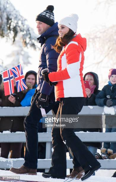 Prince William Duke of Cambridge Catherine Duchess of Cambridge attend an event organised by the Norwegian Ski Federation where they join local...