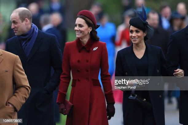 Prince William Duke of Cambridge Catherine Duchess of Cambridge and Meghan Duchess of Sussex arrive to attend Christmas Day Church service at Church...