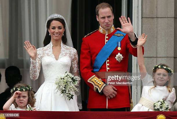 Prince William, Duke of Cambridge, Catherine, Duchess of Cambridge and Bridesmaids Grace Van Cutsem and Margarita Armstrong-Jones greet well-wishers...
