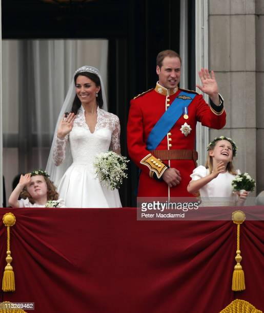 Prince William Duke of Cambridge Catherine Duchess of Cambridge and Bridesmaids Grace Van Cutsem and Margarita ArmstrongJones greet wellwishers from...