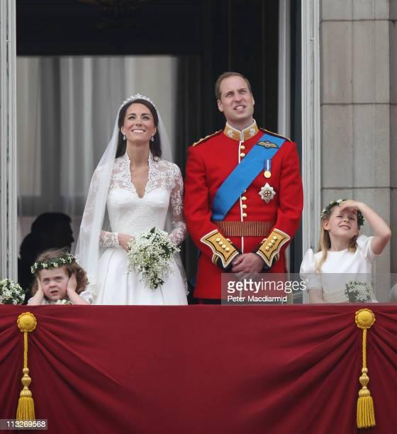 Prince William Duke of Cambridge Catherine Duchess of Cambridge and Bridesmaids Grace Van Cutsem and Margarita ArmstrongJones greet wellwishers from...