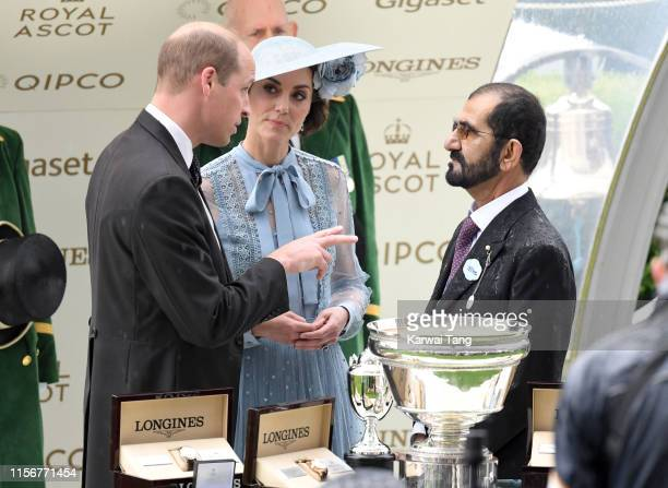Prince William, Duke of Cambridge, Catherine, Duchess of Cambridge and Sheikh Mohammed bin Rashid Al Maktoum attend day one of Royal Ascot at Ascot...