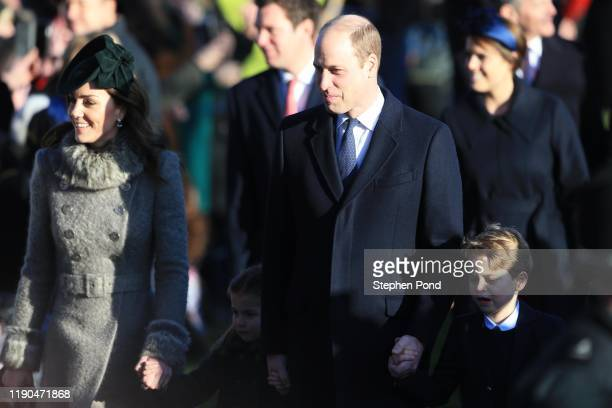 Prince William Duke of Cambridge Catherine Duchess of Cambridge Princess Charlotte and Prince George attend the Christmas Day Church service at...