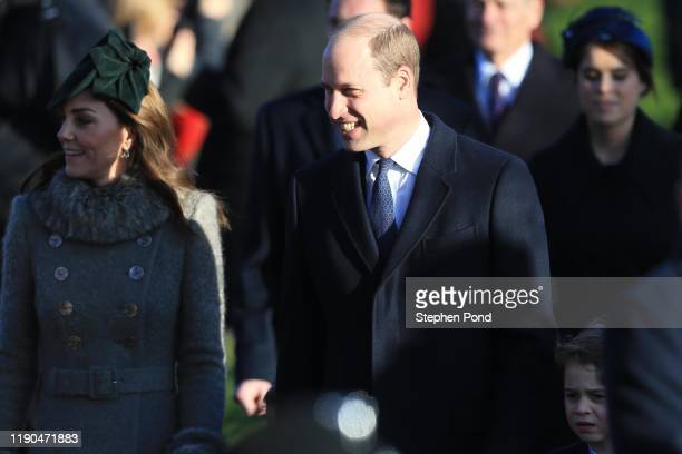 Prince William Duke of Cambridge Catherine Duchess of Cambridge and Prince George attend the Christmas Day Church service at Church of St Mary...