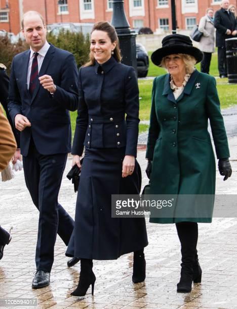 Prince William Duke of Cambridge Catherine Duchess of Cambridge and Camilla Duchess of Cornwall visit the Defence Medical Rehabilitation Centre...