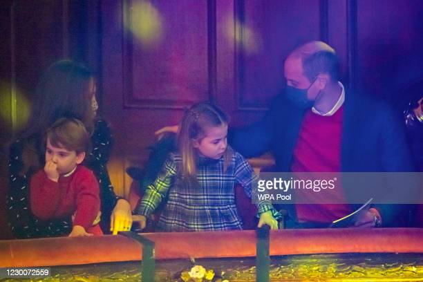 Prince William, Duke of Cambridge, Catherine, Duchess of Cambridge, Prince Louis and Princess Charlotte attend a special pantomime performance at...