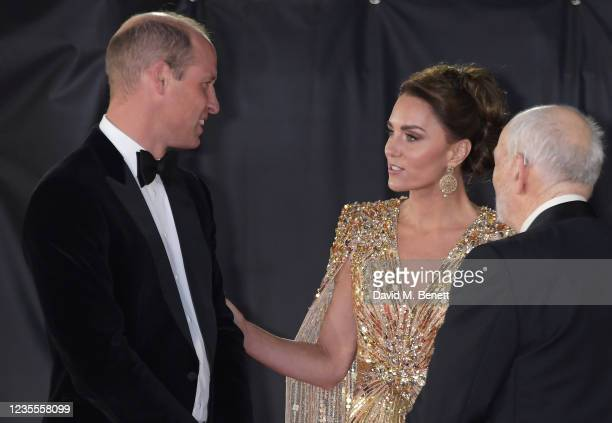 """Prince William, Duke of Cambridge,, Catherine, Duchess of Cambridge and Michael G. Wilson attend the World Premiere of """"No Time To Die"""" at the Royal..."""