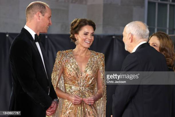 """Prince William, Duke of Cambridge, Catherine, Duchess of Cambridge, and Producer Michael G Wilson attend the """"No Time To Die"""" World Premiere at Royal..."""