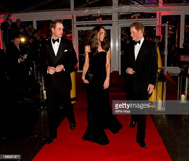 Prince William, Duke of Cambridge, Catherine, Duchess of Cambridge and Prince Harry attend The Sun Military Awards at Imperial War Museum on December...