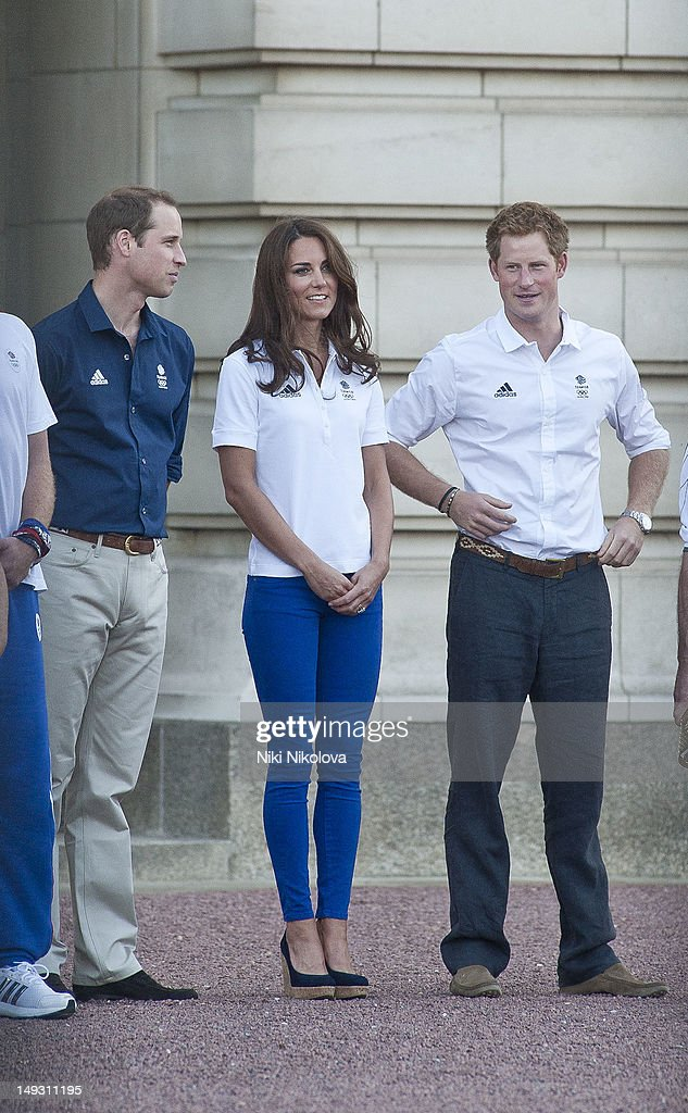 Prince William, Duke of Cambridge, Catherine, Duchess of Cambridge and Prince Harry sighting on July 26, 2012 in London, England.