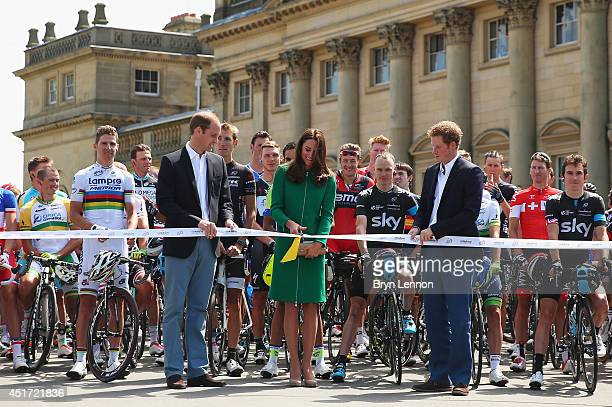 Prince William Duke of Cambridge Catherine Duchess of Cambridge and Prince Harry start the first stage of the 2014 Tour de France a 190km stage...