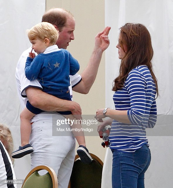 Prince William, Duke of Cambridge, Catherine, Duchess of Cambridge and Prince George of Cambridge attend the Gigaset Charity Polo Match at the Beaufort Polo Club on June 14, 2015 in Tetbury, England.