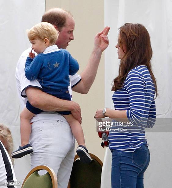 Prince William Duke of Cambridge Catherine Duchess of Cambridge and Prince George of Cambridge attend the Gigaset Charity Polo Match at the Beaufort...