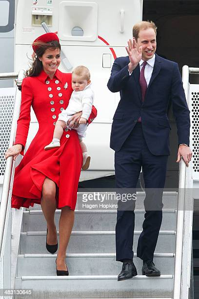 Prince William Duke of Cambridge Catherine Duchess of Cambridge and Prince George of Cambridge arrive at Wellington Airport on April 7 2014 in...