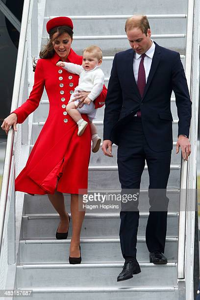 Prince William, Duke of Cambridge, Catherine, Duchess of Cambridge and Prince George of Cambridge arrive at Wellington Airport on April 7, 2014 in...