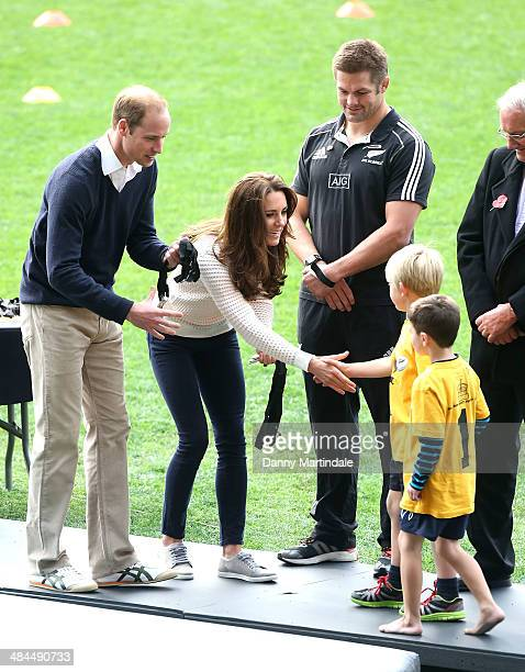 Prince William Duke of Cambridge Catherine Duchess of Cambridge and All Blacks player Richie McCaw give out medals at the Rippa Rugby tournament at...