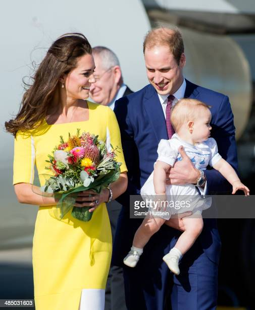 Prince William Duke of Cambridge Catherine Duchess of Cambridge and Prince George of Cambridge arrive at Sydney Airport on a Australian Airforce 737...