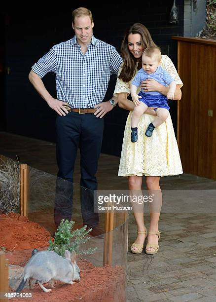 Prince William, Duke of Cambridge, Catherine, Duchess of Cambridge and Prince George of Cambridge meet a Bilby called George as they visit the Bilby...