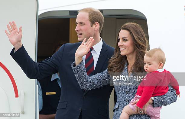 Prince William Duke of Cambridge Catherine Duchess of Cambridge and Prince George of Cambridge depart Australia from Defence Establishment Fairbairn...