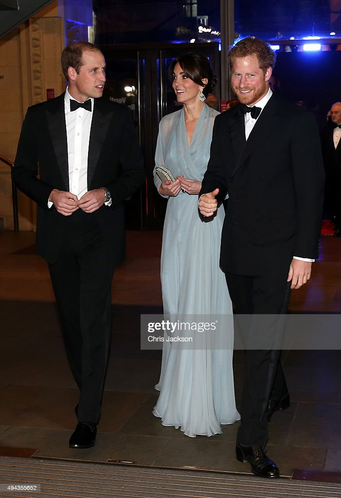 Prince William, Duke of Cambridge (L), Catherine, Duchess of Cambridge (C) and Prince Harry (R) attend The Cinema and Television Benevolent Fund's Royal Film Performance 2015 of the 24th James Bond Adventure, 'Spectre' at Royal Albert Hall on October 26, 2015 in London, England.