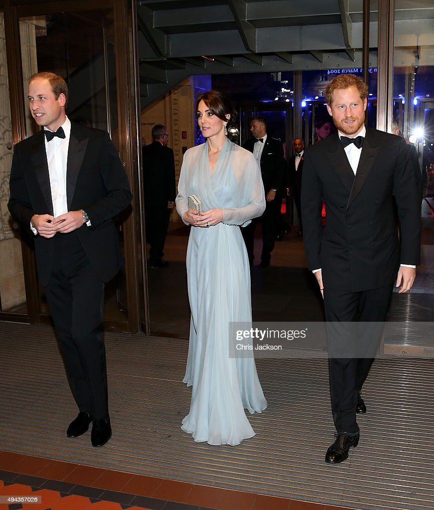 Prince William, Duke of Cambridge, Catherine, Duchess of Cambridge and Prince Harry attend The Cinema and Television Benevolent Fund's Royal Film Performance 2015 of the 24th James Bond Adventure, 'Spectre' at Royal Albert Hall on October 26, 2015 in London, England.