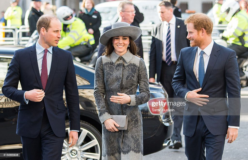 Prince William, Duke of Cambridge, Catherine, Duchess of Cambridge and Prince Harry attend the Commonwealth Observance Day Service on March 14, 2016 in London, United Kingdom. The service is the largest annual inter-faith gathering in the United Kingdom and will celebrate the Queen's 90th birthday. Kofi Annan and Ellie Goulding will take part in the service.