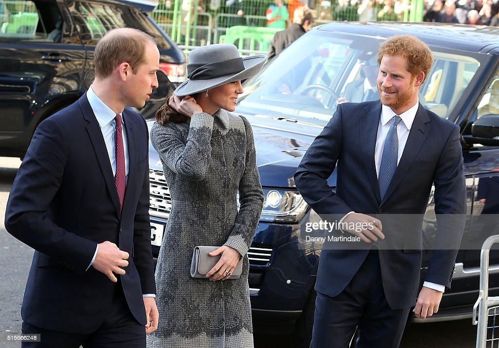 Prince William, Duke of Cambridge, Catherine, Duchess of Cambridge and Prince Henry attend The Commonwealth Observance Day Service on March 14, 2016 in London, United Kingdom. The service is the largest annual inter-faith gathering in the United Kingdom and will celebrate the Queen's 90th birthday. Kofi Annan and Ellie Goulding will take part in the service.