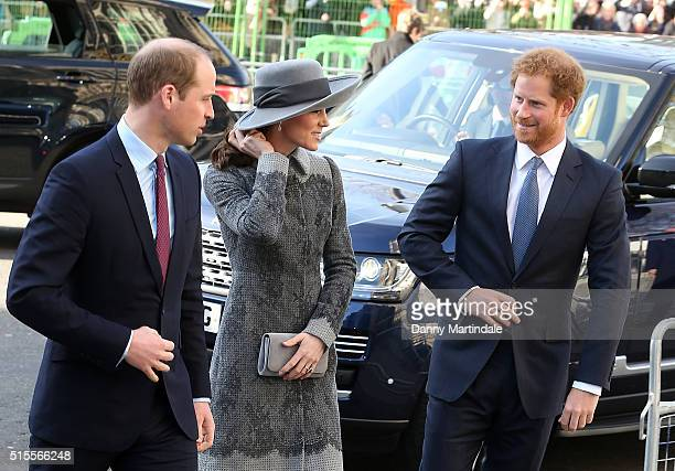 Prince William Duke of Cambridge Catherine Duchess of Cambridge and Prince Henry attend The Commonwealth Observance Day Service on March 14 2016 in...