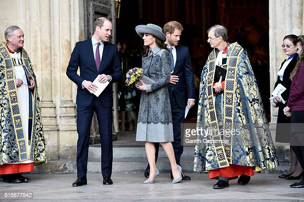 Prince William Duke of Cambridge Catherine Duchess of Cambridge and Prince Harry depart the Commonwealth Observance Day Service on March 14 2016 in...