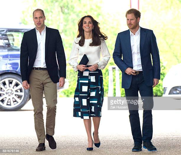 Prince William Duke of Cambridge Catherine Duchess of Cambridge and Prince Harry attend the launch of Heads Together Campaign at Olympic Park on May...