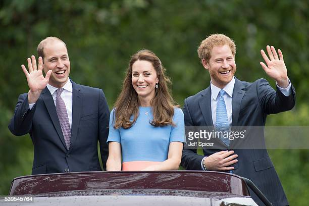 Prince William Duke of Cambridge Catherine Duchess of Cambridge and Prince Harry during 'The Patron's Lunch' celebrations for The Queen's 90th...