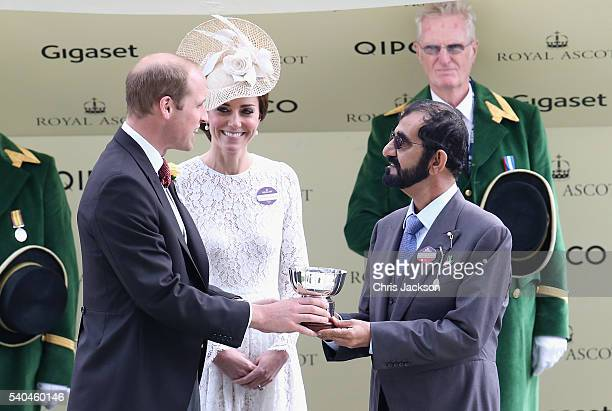 Prince William Duke of Cambridge Catherine Duchess of Cambridge and Sheikh Mohammed Bin Rashid Al Maktoum attend the second day of Royal Ascot at...