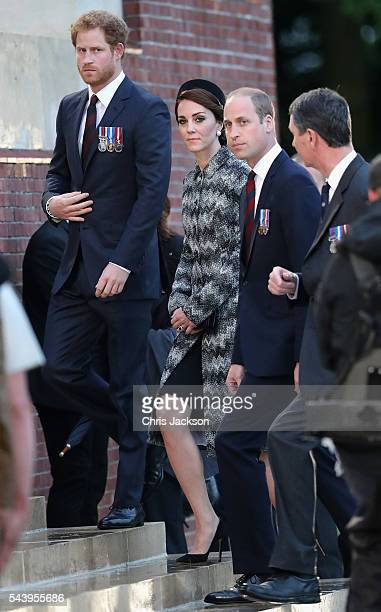 Prince William, Duke of Cambridge, Catherine, Duchess of Cambridge and Prince Harry take part in a vigil at Thiepval Memorial to the Missing of the...