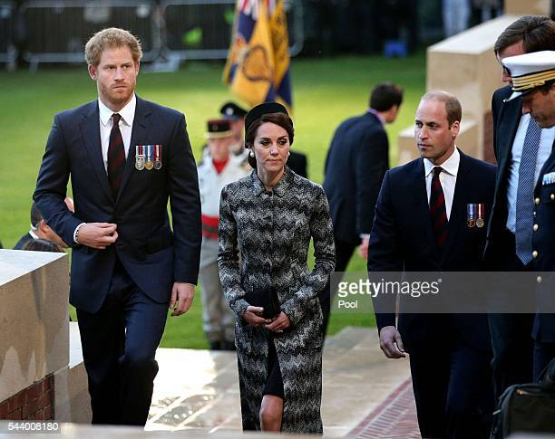Prince William Duke of Cambridge Catherine Duchess of Cambridge and Prince Harry attend part of a militaryled vigil to commemorate the 100th...