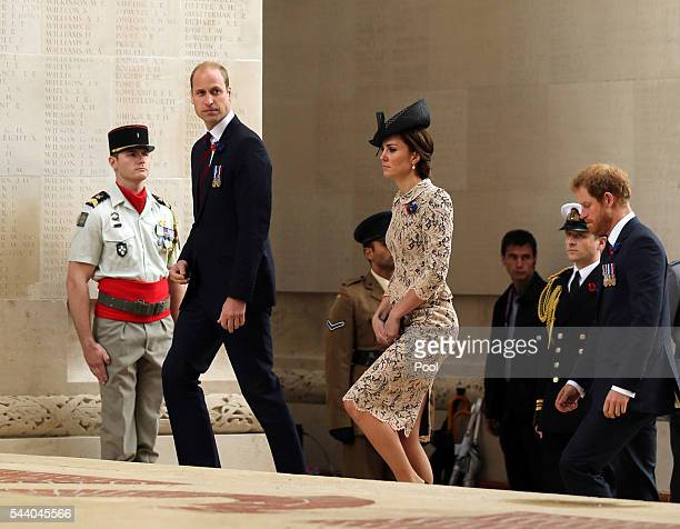 Prince William Duke of Cambridge Catherine Duchess of Cambridge and Prince Harry attend a service to mark the 100th anniversary of the beginning of...