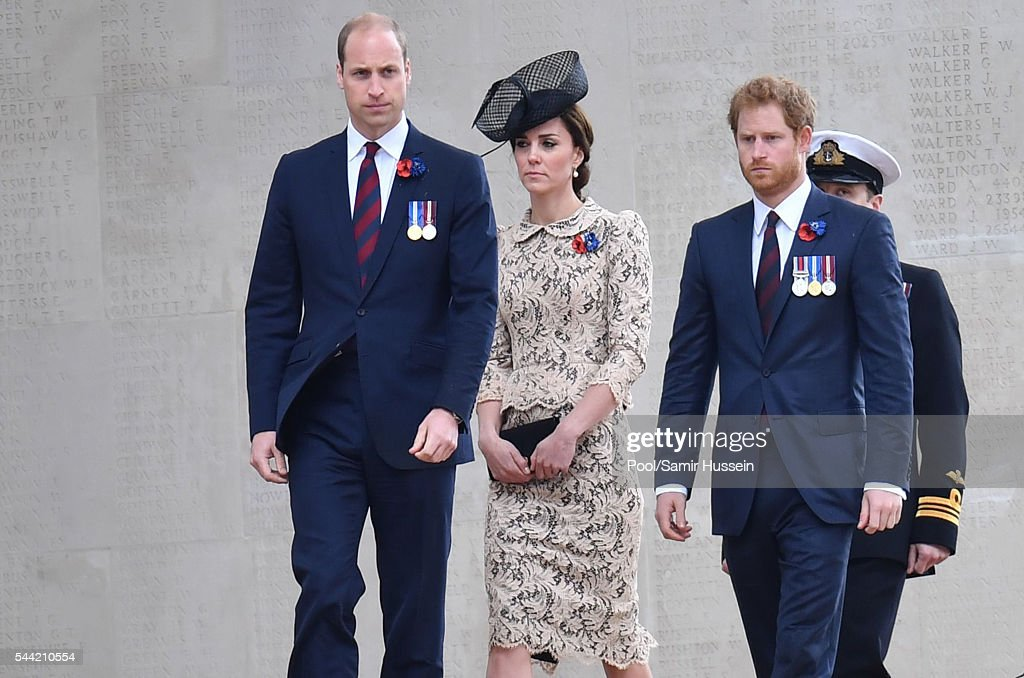 Prince William, Duke of Cambridge , Catherine, Duchess of Cambridge and Prince Harry attend the commemoration of the Battle of the Somme at the Commonwealth War Graves Commission Thiepval Memorial on July 1, 2016 in Thiepval, France.