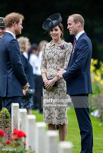 Prince William Duke of Cambridge Catherine Duchess of Cambridge and Prince Harry attend the commemoration of the Battle of the Somme at the...