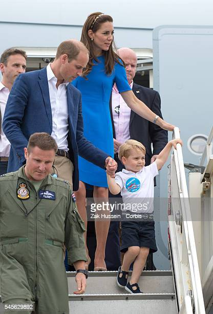 Prince William Duke of Cambridge Catherine Duchess of Cambridge and Prince George of Cambridge attend the The Royal International Air Tattoo at RAF...