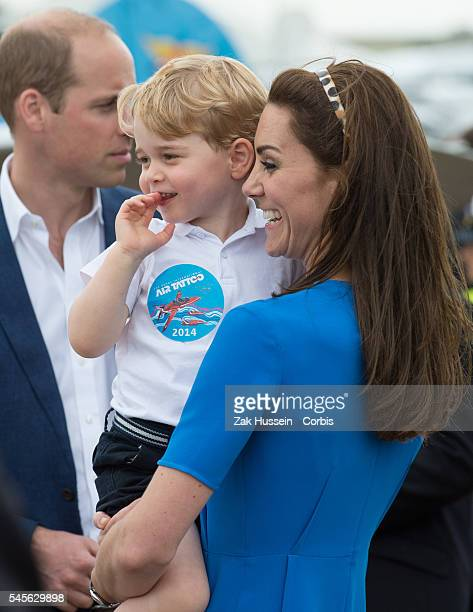 Prince William Duke of Cambridge Catherine Duchess of Cambridge and Prince George of Cambridge attend the The Royal International Air Tattoo at RAF...