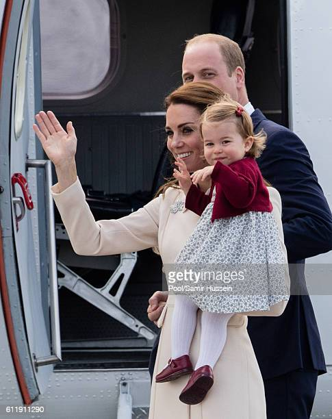 Prince William Duke of Cambridge Catherine Duchess of Cambridge and Princess Charlotte of Cambridge depart Victoria on October 1 2016 in Victoria...