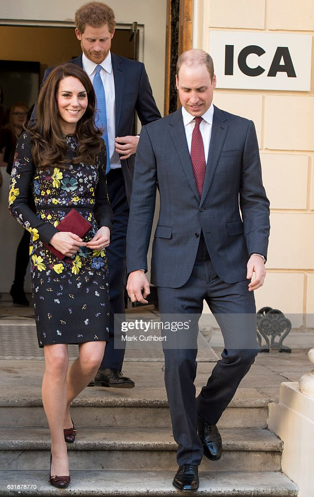 Prince William, Duke of Cambridge, Catherine, Duchess of Cambridge and Prince Harry attend a briefing to announce plans for Heads Together ahead of the 2017 Virgin Money London Marathon at ICA on January 17, 2017 in London, England. Heads Together, Charity of the Year 2017, is led by The Duke & Duchess of Cambridge and Prince Harry in partnership with leading mental health charities.