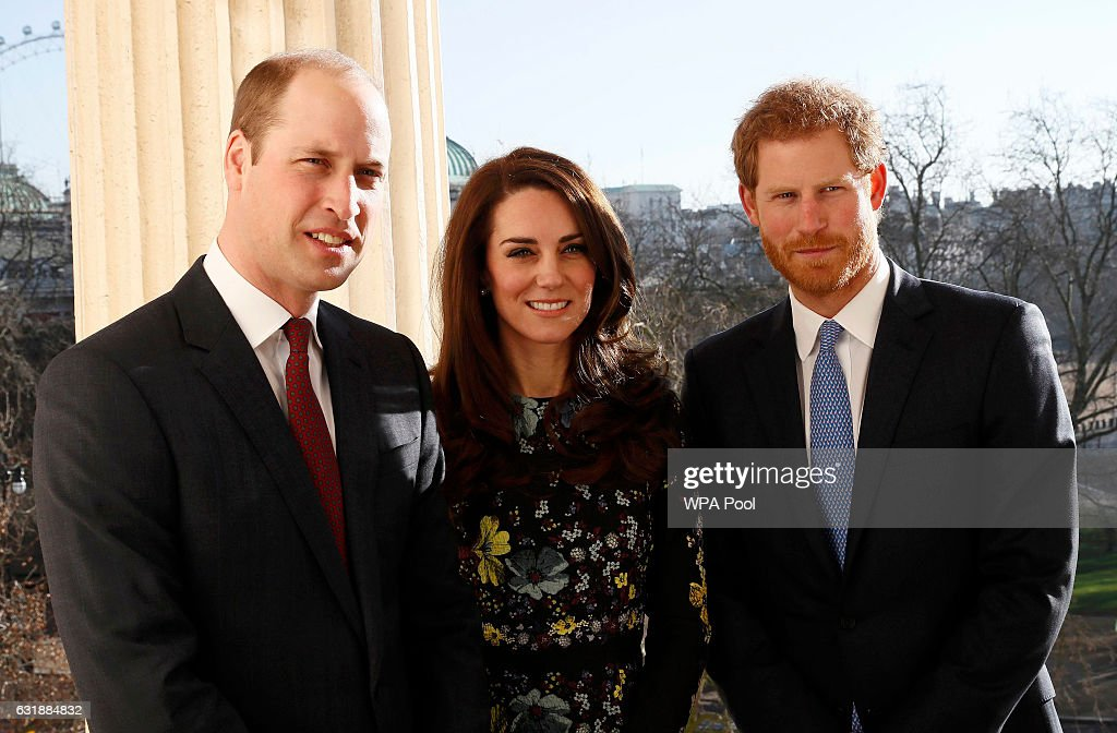 Prince William, Duke of Cambridge, Catherine, Duchess Of Cambridge and Prince Harry during an event to announce plans for Heads Together ahead of the 2017 Virgin Money London Marathon at ICA on January 17, 2017 in London, England. Heads Together, Charity of the Year 2017, is led by The Duke & Duchess of Cambridge and Prince Harry in partnership with leading mental health charities.