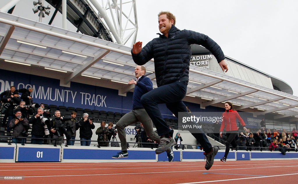 Prince William, Duke of Cambridge, Catherine, Duchess of Cambridge and Prince Harry race during the Team Heads Together at a London Marathon Training Day at the Queen Elizabeth Olympic Park on February 5, 2017 in London, England.