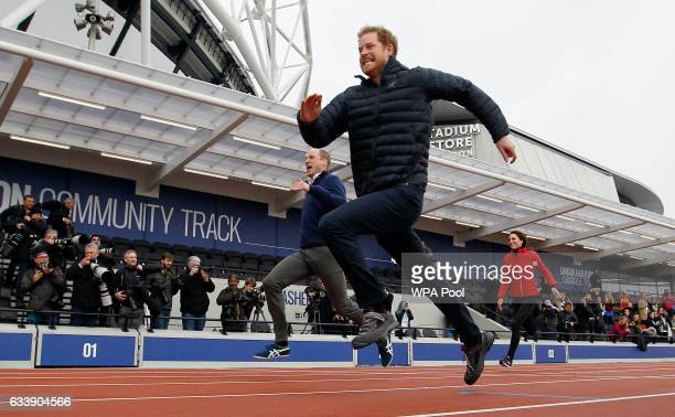 Prince William Duke of Cambridge Catherine Duchess of Cambridge and Prince Harry race during the Team Heads Together at a London Marathon Training...